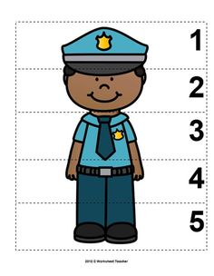 Number Sequence Preschool Picture Puzzle - Police Officer from Worksheet Teacher Police Officer Crafts, Police Crafts, Kindergarten Activities, Preschool Activities, Space Activities, Community Helpers Crafts, Preschool Pictures, People Who Help Us, Police Activities