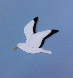 "PRECUT STAINED GLASS KIT SEAGULL #3 MOSAIC INLAY SEASCAPE CRAFT 4""x5"""