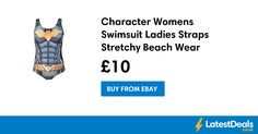 Character Womens Swimsuit Ladies Straps Stretchy Beach Wear, £10 at ebay