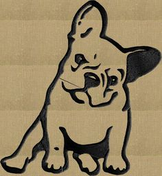 French Bulldog Bull dog Embroidery DESIGN FILE by StitchElf