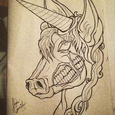 doodle #drawing #zombie #zombified #zombieunicorn #unicorn #tattoo ...