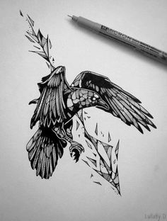 A large bird in mid-flight; its head is covered in abstract shapes giving it a pebble like appearance. The bird's wings are not wide open but rather half folded which may suggest that the pattern of a partial abstract arrow behind it, has actually pierced the bird in flight. #tattoofriday #tattoos #tattooart #tattoodesign #tattooidea