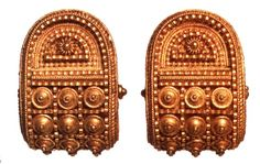 A Pair of Earrings in the Etruscan Style designed and manufacured by Castellani and Sons, Rome. Gold. 7/8 inches . Collection: Museo Nazionale Etrusco di Villa Giulia, Rome