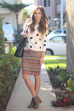 Short boots with pencil skirt