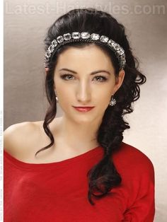 Grecian Goddess Partial Updo with Sparkling Headband would match the grecian style dress she has for prom Grecian Hairstyles, Goddess Hairstyles, Side Hairstyles, Formal Hairstyles, Latest Hairstyles, Straight Hairstyles, Wedding Hairstyles, Summer Hairstyles, Hair Do For Prom