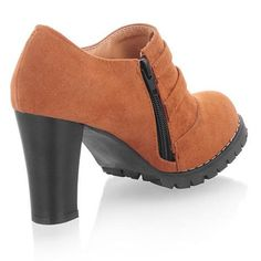 [US$35.66] - Wonderful Chunky Heel Suede Pumps With Side Zipper Light Coffee : ThatsPoint.com