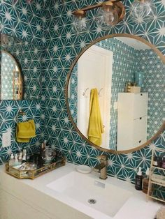 Mirth Studio Starburst Wallcovering Bathroom Makeover with Mirth Studio's Removable Starburst Peel & Stick Wallcovering House, Bathroom Wallpaper, Remodel, Bathroom Makeover, Bathroom Styling, Bathrooms Remodel, Bathroom Design, Bathroom Decor, Mirth Studio