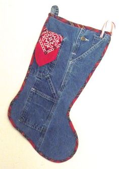 Denim and Bandana Christmas Stocking by Jan C for Nancy Zieman Blog