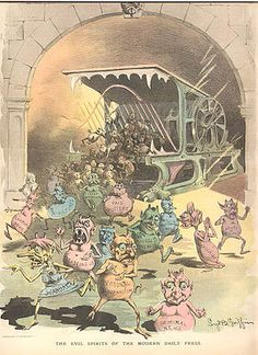 Yellow Journalism - Nasty little printer's devils spew forth from the Hoe press in this Puck cartoon of November 21, 1888.