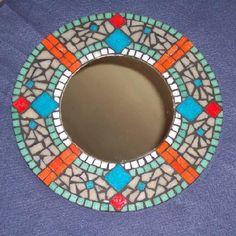 Fj Mosaic Art - artesanum com Mirror Mosaic, Mosaic Diy, Mirror Art, Mosaic Tiles, Stone Mosaic, Mosaic Glass, Fused Glass, Mosaic Projects, Craft Projects