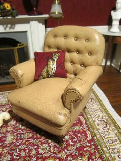 Dollhouse Miniature IGMA Gail Steffey OOAK Lambskin Distressed Leather w Casters | eBay