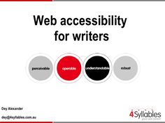 web-accessibility-for-writers by 4 Syllables via Slideshare