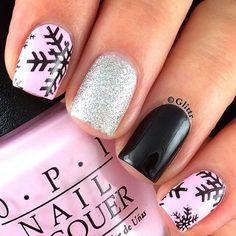 black snowflakes on pink with silver glitter and black accents