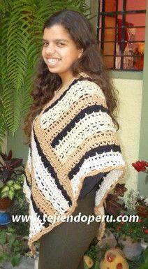 Cómo tejer un poncho en base de dos rectángulos a crochet!
