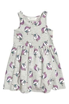 Tricot jurk met dessin - Grijs/Unicorns - KINDEREN   H&M BE