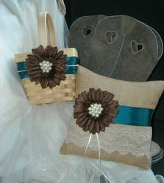 Turquoise and Brown Flower Girl Basket and by MyMontanaHomestead, $42.00
