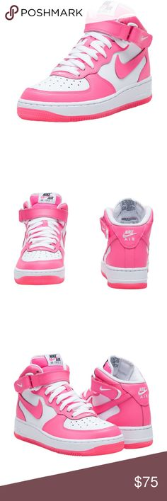 Nike AIR FORCE 1 MID SNEAKER- Pink and White NIKE  Size 6.5 Y (Youth- EU size 39- approximate US size is 7 and 7.5) Air Force One mid sneaker  Lace up closure   NIKE swoosh on side of kicks  Cushioned inner sole for comfort  Traction rubber outsole for ultimate performance FIT: Grade School sizes FABRIC: Leather Nike Shoes Sneakers