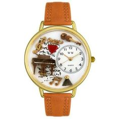 Whimsical Unisex Music Piano Tan Leather Watch