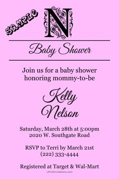 Monogrammed any color scheme baby shower invitations.  Design online, download and print immediately!