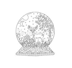 adult coloring page - Snow Globe- instant download, unique hand-drawn artwork, mandala, christmas, coloring pages, coloring books, reindeer,