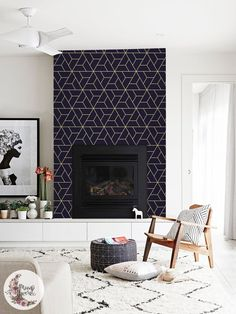 Navy Geometric removable wallpaper Scandinavian wall mural Simple wall decor Peel and stick Removable Reusable Repositionable Foyer Mural, Wall Mural, Wall Decor, Wallpaper Fireplace, Geometric Removable Wallpaper, Geometric Scandinavian Wallpaper, Contemporary Fireplace Designs, Modern Fireplaces, Home Fireplace