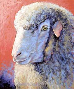 """Naturally Curly"" image size - soft pastel The Rambouillet sheep breed originated with Spain's Merino flocks, known as producers of. Sheep Paintings, Pastel Paintings, Sheep Art, Moose Art, Soft Pastel Art, Sheep Breeds, Christmas Nativity Scene, Mini Canvas, Animal Heads"