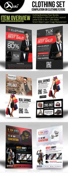 clothing store flyer bundle set photoshop psd tee promotion available here