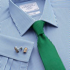 Great shirt and tie combo. Blue bengal stripe tailored fit dress shirt | Tailored fit dress shirts from Charles Tyrwhitt | CTShirts.com