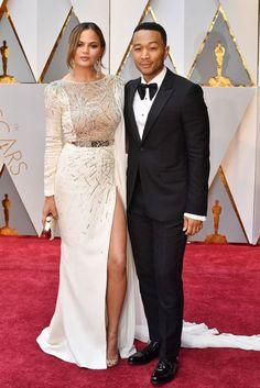Chrissy Teigen & John Legend | Oscars 2017 Red-Carpet Dresses | British Vogue