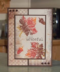 This card was made using the new Stampin' Up fall themed stamp set Truly Grateful and Gently Falling, which are stamped directly onto the Autumn Meadows designer series paper. I also used the new Candy Dots...love the fact that the card doesn't have the added bulk of brads or gems.