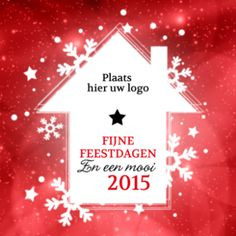 Zakelijke kerstkaart voor makelaars met rode glitter achtergrond en wit huis met kerstgroet.