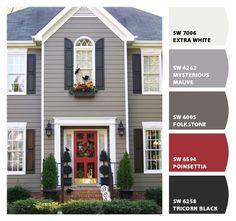 trendy ideas for house exterior colors white trim black shutters Best Exterior Paint, Exterior Paint Colors For House, Exterior Siding, Paint Colors For Home, Exterior Design, Paint Colours, Diy Exterior, House Shutter Colors, Grey Homes Exterior