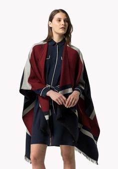 Tommy Hilfiger Womens Striped Cape Multi Coloured Poncho Top Coat Flag