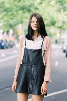 leather overalls in a skirt. (remember to add a diaphanous shirt as flimsy as this one)