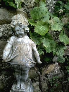 Garden Statue with Leaves