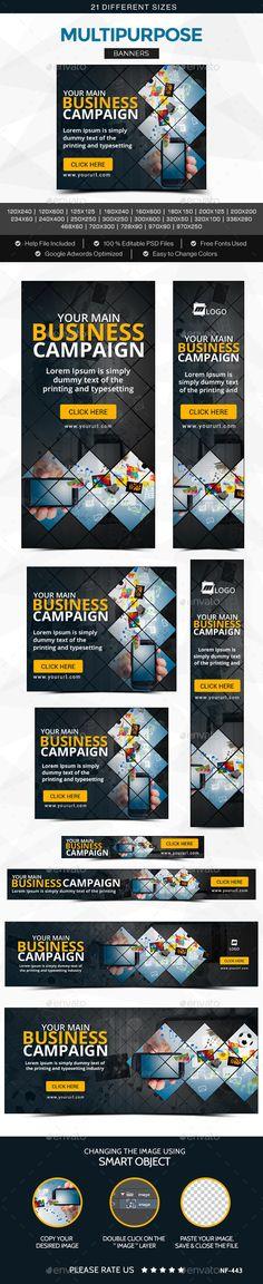 Multipurpose Banners Template #design #banners #web Download: http://graphicriver.net/item/multipurpose-banners/11834086?ref=ksioks