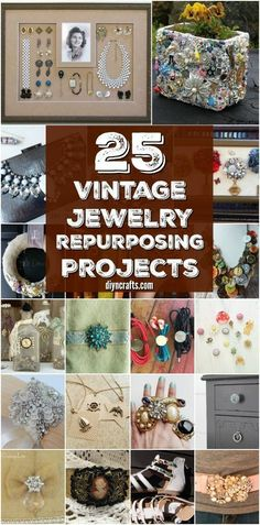 25 Amazingly Creative Ways To Repurpose Vintage Jewelry {Collection Created and Curated by DIYnCrafts Team} diy jewelry art 25 Amazingly Creative Ways To Repurpose Vintage Jewelry Costume Jewelry Crafts, Vintage Jewelry Crafts, Recycled Jewelry, Jewelry Art, Antique Jewelry, Handmade Jewelry, Fashion Jewelry, Silver Jewelry, Diy Jewelry Box
