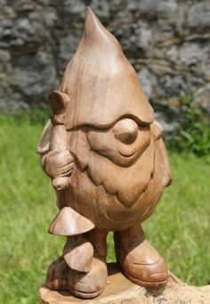 Solid Wooden 20cm Gnome