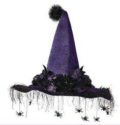 Spider Queen purple and black halloween witch hat
