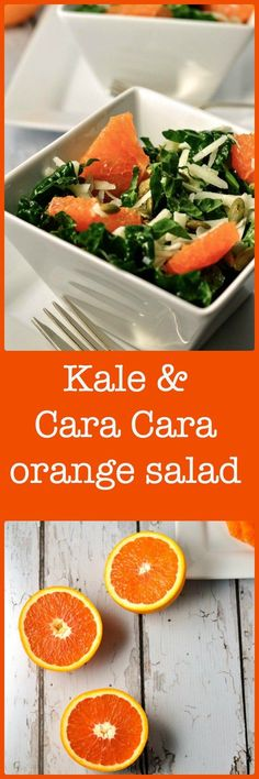 Healthy Kale and Cara Cara Orange Salad with Cheese, smoky toasted pumpkin seeds and Meyer Lemon Vinaigrette. A burst of Vitamin C!