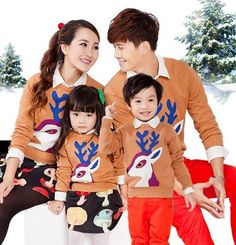 2016 autumn winter Christmas family matching outfits cute family look clothes set deer pattern sweater for father mother children