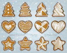 "#Digital #Gingerbread #Christmas Cookie Clip Art Clipart ""Christmas Cookies""…"