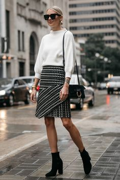 Fashion Jackson White Sweater Black and White Jacquard Skirt Black Ankle Booties Chloe Faye Handbag 3