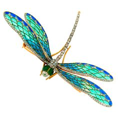 *DRAGONFLY ~ Art Nouveau Diamond, Enamel, Gold & Silver Dragonfly Brooch