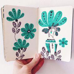 Ballpoint pen and marker sketches by Abigail Halpin #art #journal #sketchbook