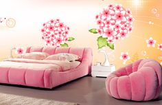Pink furniture and wall ideas for bedroom