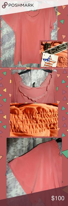 Selling this Dark Melon Knit Stretch Smocked Top Sz 2X on Poshmark! My username is: gothicbluecj. #shopmycloset #poshmark #fashion #shopping #style #forsale #Susan Lawrence Woman #Tops