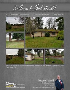 #NEWLISTING  3 acres to sub-divide; preliminary plans say 6 houses to acre possible. Or your own little Farm in the City  Contact Eugene Harrell @ (425) 785-8707 MLS # 1223507 http://353143rdavese.c21.com/