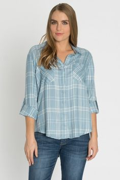 Velvet Heart tab sleeve blue plaid button up at Marketplace on Broadway
