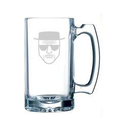 Breaking Bad Heisenberg Glass Beer Stein Mug 15oz- Engraved Glass
